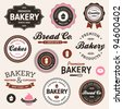 Set of vintage retro bakery logo badges and labels - stock vector