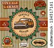 Set of vintage retro car labels - stock vector