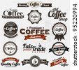 Set Of Vintage Retro Coffee Badges And Labels - stock vector