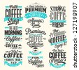 Set Of Vintage Retro Coffee Labels On Chalkboard . Coffee decoration collection | Set of calligraphic and typographic elements styled design, frames, vintage labels. Vector. - stock vector