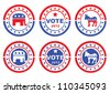 Set of vintage retro 2012 election Stamp, Badges and labels showing Republic Party, Democratic Party and Vote Symbols. - stock photo