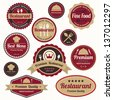 Set of vintage retro restaurant badges and labels - stock photo