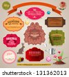 Set of vintage stickers, cards and labels. - stock vector