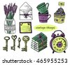 Set of vintage things on white background. Vintage keys, lavender, envelope, letter, cupcakes, cups, books, alarm clock - stock photo