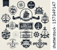 Set Of Vintage Typographical Retro Nautical Labels - stock vector