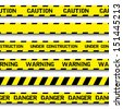 Set of warning tapes isolated on white background. Warning tape, danger tape, caution tape, danger tape, under construction tape. Vector illustration - stock vector