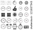 Set of watch icons - silhouette - stock photo