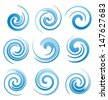 Set of water swirls design elements. Abstract water splash shapes collection. Vector waves symbols, signs and icons. - stock