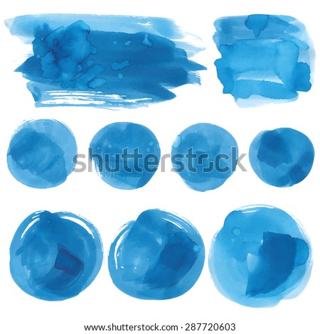 Set of watercolor blobs, isolated on white background. Vector illustration