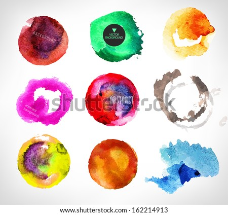 Set of watercolor label, bubble, background/ vector