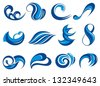 Set of wave symbols for design isolated on white - stock photo
