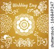 Set of wedding invitation with flowers, hearts, angel and bird. Design elements, designers toolkit. It can be used for decorating of greeting cards, decoration for bags and clothes. - stock