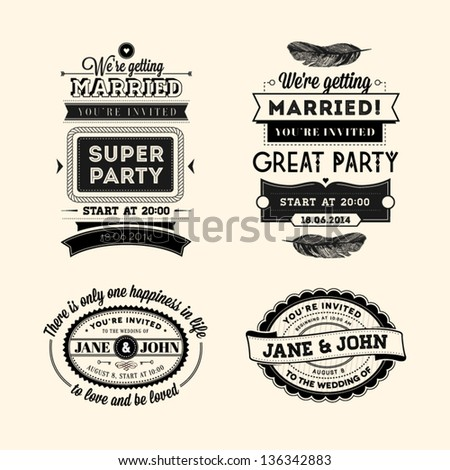 Set of wedding stamps
