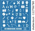 Set of 50 white medical Icon isolated on blue background, vector illustration, graphic design editable for your design. Logo symbols - stock vector