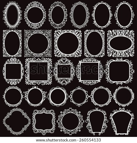 set of white round and square vintage frames design elements on black background