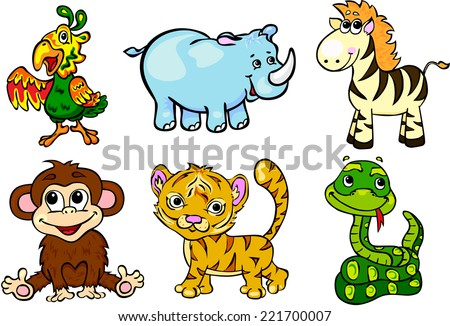 Set of wild animals second. Vector illustration for children