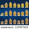 Set of winter houses - stock photo