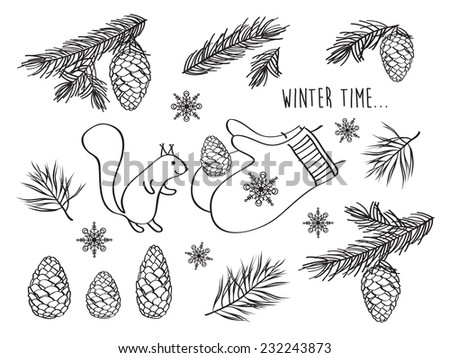Set of winter pictures. Cones, spruce and pine spruce, squirrel. Isolated on white background. Merry Christmas. Happy New Year. Doodles. Hand drawing. Vector illustration.