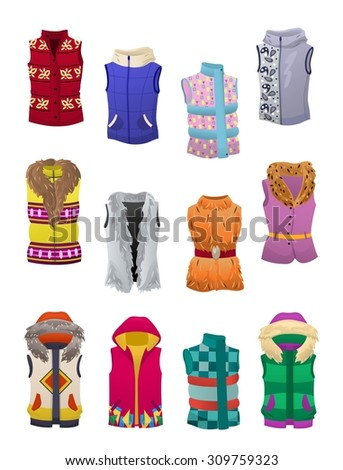Set of women's autumn and winter vests isolated on white background