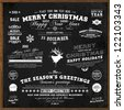 Set of Xmas and Happy New Year Labels with retro vintage styled design. Christmas decoration collection. Calligraphic and typographic elements, labels, signs. Deer head. Eps 10 vector illustration. - stock