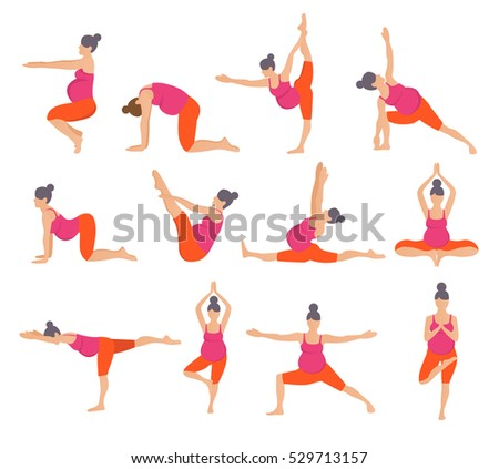 poster all kinds yoga poses strength stock photo 46392487
