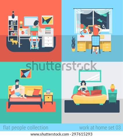 Set Of Young Man Woman Home Office Freelance Homework Laptop Tablet Table Workplace Flat People