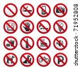 Set Prohibited Signs - stock photo