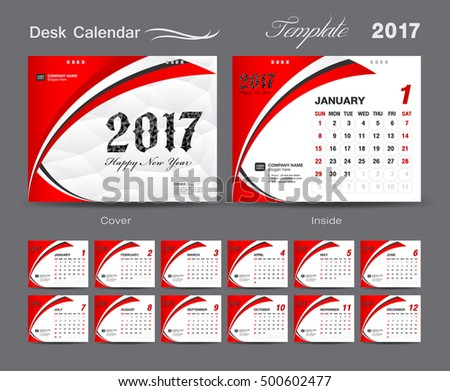Set Green Desk Calendar 2017 Template Stock Vector 500602492