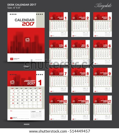 Red Desk Calendar  Year Cover Stock Vector
