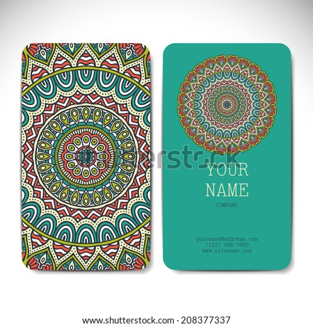 Set retro card. Vector background. Card or invitation. Vintage decorative elements. Hand drawn background. Islam, Arabic, Indian, ottoman motifs.