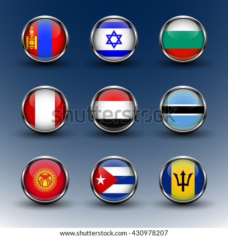 Set round glass icons flags of the world