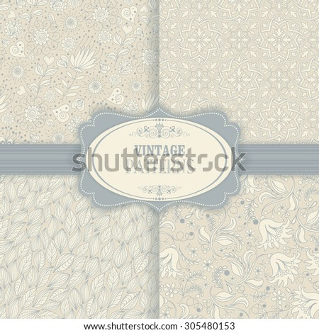 Set seamless background of blue and beige of flowers