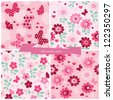 Set seamless pattern flowers, butterfly and hearts. - stock vector