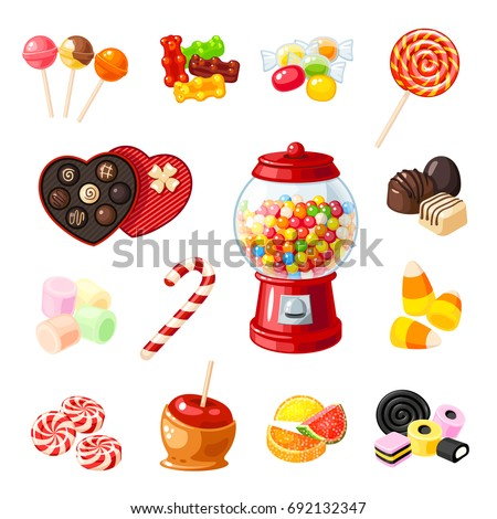Chocolate coated candy chocolate pattern chocolate background - Set Single Cartoon Candies Lollipop Candy Stock Vector