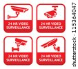 Set stickers for security alarm cctv, camera surveillance - stock vector