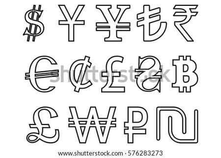 Symbols World Currencies Set 30 Black Stock Vector Royalty