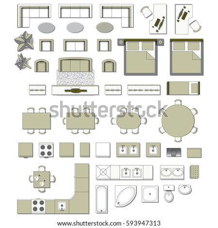 Set Top View For Interior Icon Design. Elements For Living Room, Bedroom,  Kitchen Part 39