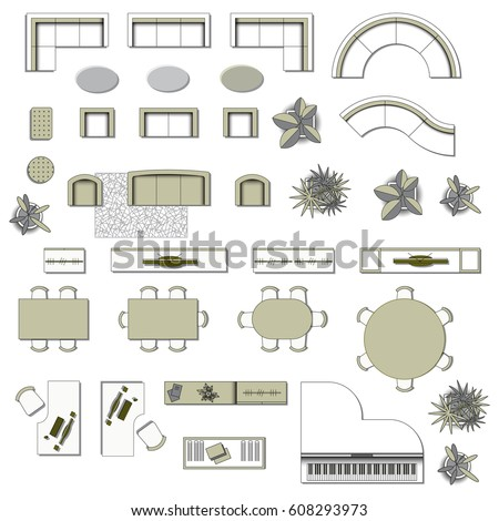 Set Top View For Interior Icon Design Elements Living Room Floor Plan Furniture