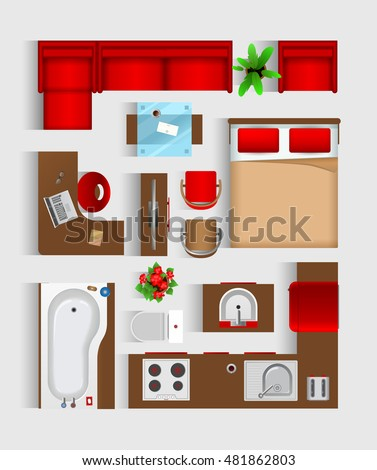 Set top view for interior icon design  Isolated Vector Illustration  Modern  red furniture top. Set Top View Interior Icon Design Stock Vector 404024566