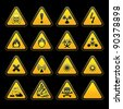 Set triangular warning signs Hazard symbols - stock photo