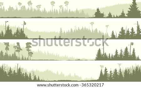 Set vector horizontal banners of misty coniferous forest hills with glades (green tone).