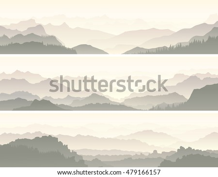 Set vector horizontal banners of mountain range with coniferous forest hills.