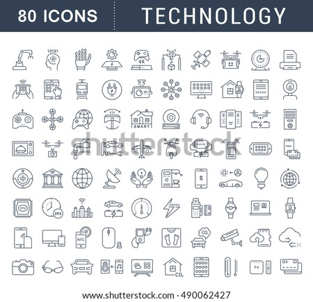 Set vector line icons in flat design technology, electric car, smart city, house , internet of things, online payment. Elements for mobile concepts. Collection modern infographic logo and pictogram.