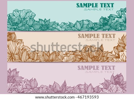 Set vector of three horizontal banners with beautiful lotus flowers.