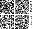 Set vector seamless patters: black and white abstract flowers  - stock vector