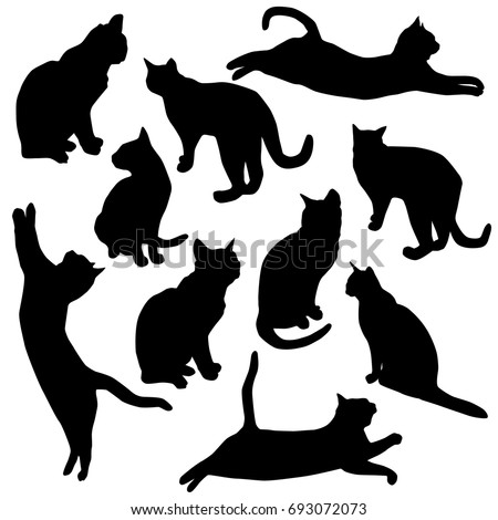 vector silhouettes cats collection stock vector 168828077