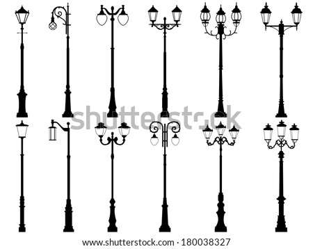 Set vector silhouettes of vintage artistic decorative lamppost, isolated on white.