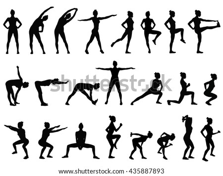 Set Vector Silhouettes Young Woman Doing Stock Vector