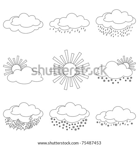 Set vector weather icons, illustrating the various natural phenomena, contours