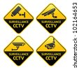 Set Warning Stickers for Security Alarm CCTV Camera Surveillance - stock vector